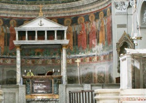 Image of the altar and ciborium of San Clemente, Rome - Architecture for liturgy