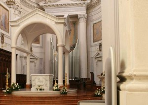 Image of the altar and ciborium in the Cathedral of St Lawrence, Trapani, Sicily - Architecture for liturgy