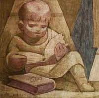 image of boy reading a book, fresco, Atchison, Kansas