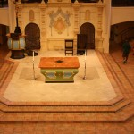 center-thrust stage with altar, pulpit and chair at Visitation Parish, KC, MO